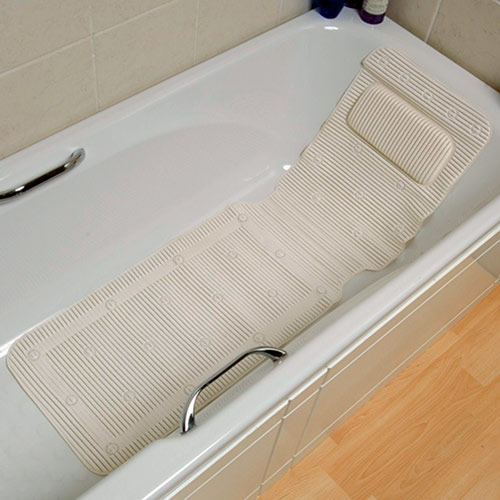 Cushioned Bath Mat With Integral Pillow